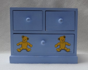 SALE. Teddy Bears' Picnic Keepsake Treasure box Chest of drawers soft Blue - hand painted: LAST ONE left in this design