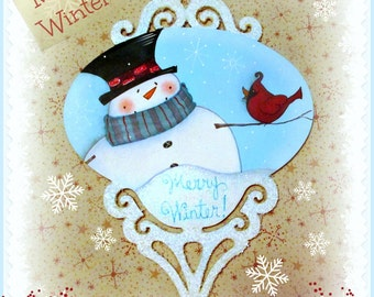 E PATTERN - Merry Winter Ornament - Snowman & Cardinal - Designed and Painted by Sharon B - FAAP