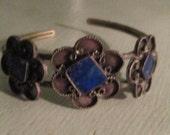 Vintage Silver Lapis Floral Arm Bracelet / 50s Bohemian Cuff  Bracelet Beautiful