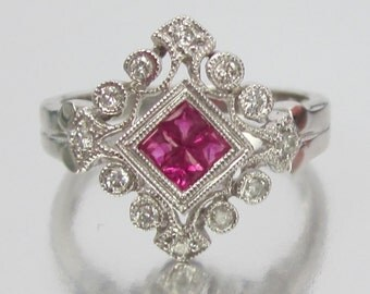 Vintage Estate ART DECO Style Diamond and Ruby Engagement Ring 14K