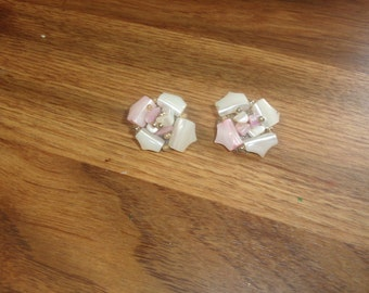 vintage clip on earrings glass shell clusters