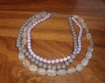 vintage necklace triple strand purple lucite