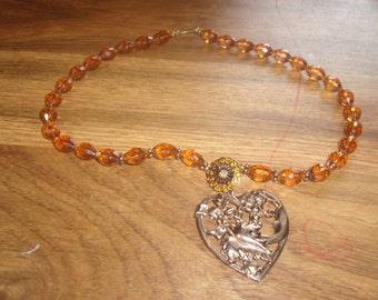 vintage necklace amber lucite yellow rhinestones flower pendant