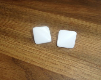 vintage clip on earrings white lucite square