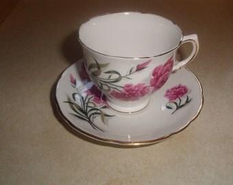 vintage bone china tea cup saucer set royal stafford peony england