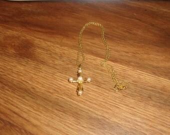 vintage necklace goldtone chain cross faux pearls avon