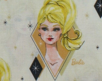 Barbie Fabric, Barbie Head, Retro Barbie, 1950's Barbie, Barbie Doll,  Mattel Toy, By the Yard, Cotton fabric