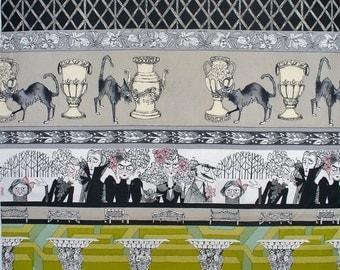 Alexander Henry The Ghastlies,  Just  Ghastly, Ghastlie  Grounds, Striped Style,  Sebastian Ghastlie, Taupe Gray Green, By the Yard