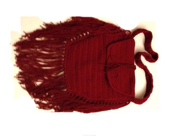 Crochet Boho Bag Maroon Crochet Tribal Bag Fringes Hippie Bag Handmade  Ready to Ship