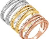 Diamond Crossover Ring, Multirow Pave Bypass Diamond Wedding Ring Anniversary Diamond Band in 14k White, Yellow, Rose Gold