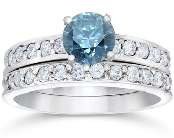 1 3/8Ct Blue Round Cut Diamond Matching Bridal Engagement Ring Set White Gold, Ring Set, Engagement Ring, Diamond Ring, Gifts For Her,