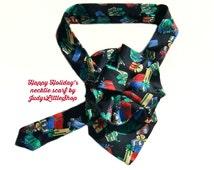 Ladies Holiday Tie Scarf, Silk Necktie Scarf, Eco Friendly Silk Scarflette, black & red gift tie, upcycled mens tie, ladies necktie necklace