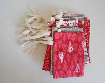 READY to SHIP Christmas Advent Calendar/  Fabric Bags in Red and White Scandi 2 Fabric  Countdown Advent Calendar/ Reindeer, Christmas Trees