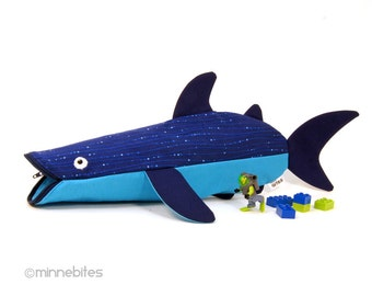 Whale Shark Case by MinneBites / Gift for Scuba Diver -  Whale Shark Bag Nautical Pouch - Handmade Blue Navy Desk Organizer - Ready to Ship