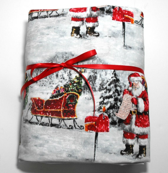 Christmas Kids Bedding 2 Piece Set Fits Standard Size Crib or Toddler Mattress Santa and Sleigh