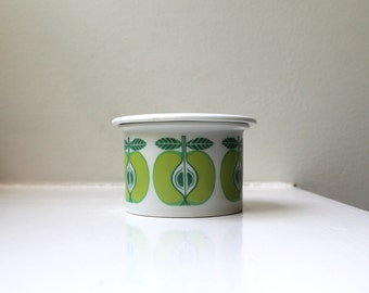 Vintage Modern Arabia Finland Apples Jam Pot Lidded Jar Pomona Omena 1960's Uosikkinen