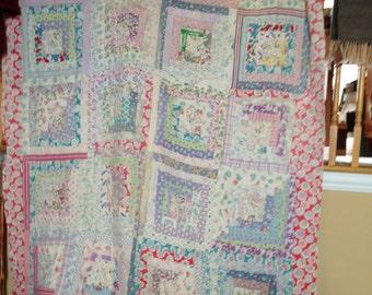 Vintage Handmade Log Cabin Style Quilt Flour Sack Fabric Nostalgia Prints