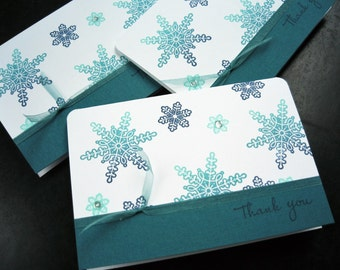 Winter Thank You Cards Set of 5, Christmas Thank You Notes, Snowflake Cards Set
