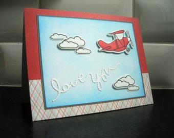 I Love You Card for Boyfriend, Anniversary Card for Husband, Airplane Card for Boy, Valentine Card