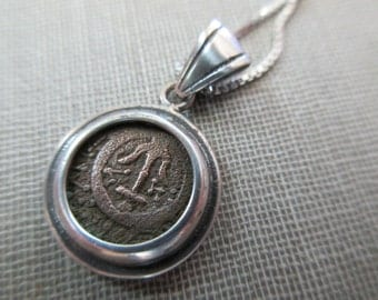"sterling silver necklace-ancient Roman coin - 16"" sterling chain"