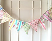 Shabby Chic Fabric Banners, Wedding Bunting, Baby, Photo Prop, Garland - 3 yards (5th version)