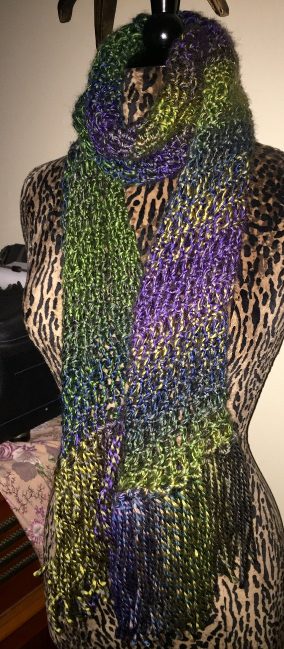Hand Knitted Open Weave Colorful Long Silky Scarf Wide Purple