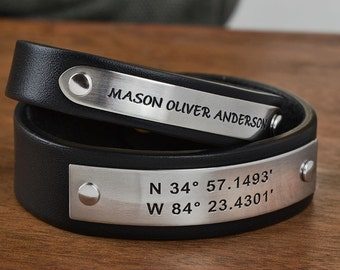 His and Hers Couples Bracelet Set - Any text or GPS Coordinates  - Unique Friendship Gift, Mom Dad Gift, Boyfriend Girlfriend Bracelet