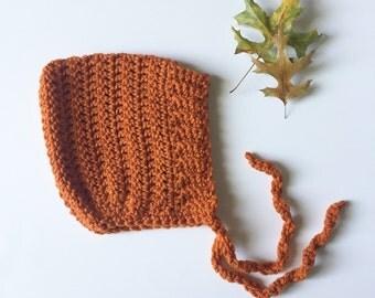ELLIOT - crochet pixie baby bonnet - burnt orange - MADE to ORDER