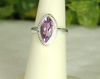 Amethyst Ring, Size 5, Purple Sparkle, Marquise Amethyst, 2.75 Cts, February Birthstone, Sterling Silver, Purple Amethyst, Natural Amethyst