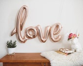 LOVE ROSE GOLD Foil Mylar Letter Balloon (In Stock Ready to Ship)