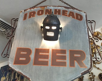 1930s Vintage-Style Up-Cycled Artisanal Crafted Ironhead Beer Sign