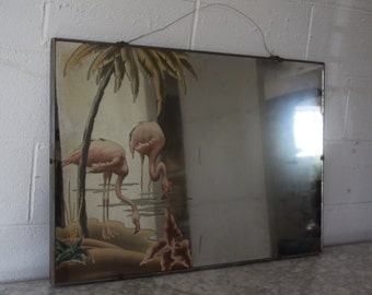 Original c. 40s Classic Pink Flamingos Turner Decorative Wall Mirror