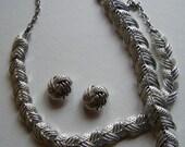 Coro Silver Tone Link Necklace, Bracelet and Earrings//Midcentury full parure //open weave jewelry