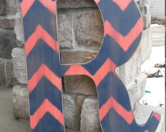 23 inch Chevron letters, Bridesmaids gifts, Wedding gifts, Custom distressed wood letters for home decor - Fall door decor