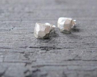 Post silver earrings, Sterling Silver Studs, Sterling silver Earrings , raw studs nugget studs, CIJ