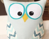 Owl Pillow Turquoise with Chevron Wings