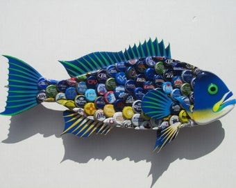 Upcycled Art Bottlecap Grouper Fish Wall Art