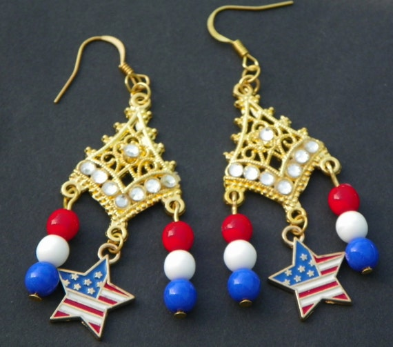 4th of july earrings july 4th earrings 4th of july earrings white and blue 4939