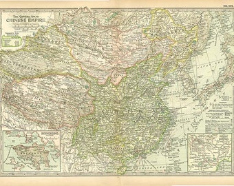 CHINESE EMPIRE MAP Antique 1902 Century Atlas Page Featuring Inserts of Peking and Hong Kong