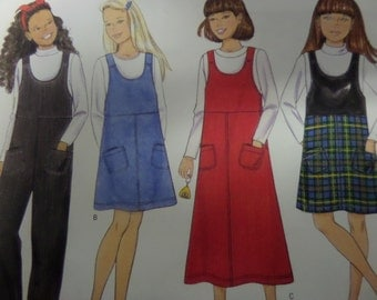 1998 Fitted Bodice Raise Waist A-Line Jumper Pattern Butterick 5650 Girls' Size 7-8-10. A-LINE JUMPSUIT or JUMPER Pattern at WhiletheCatNaps