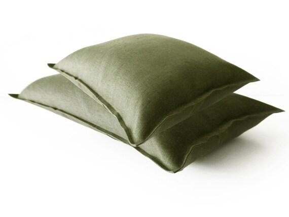 Linen decorative pillow Moss green throw pillow by LovelyHomeIdea