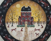 Winter Folk Art Painting on Wood Plate, Primitive Country Scene, Red Saltbox House, Running Foxes, Christmas Holiday decor, MADE TO ORDER