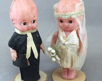 1920s Celluloid Kewpie Wedding Cake Toppers. Bride Groom. Made in Japan No.003 cs
