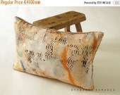 ON SALE Boho Linen & recycled burlap ooak accent throw pillow case. Oblong. mini. .. / ETHNICS Moments. Bohemian interior