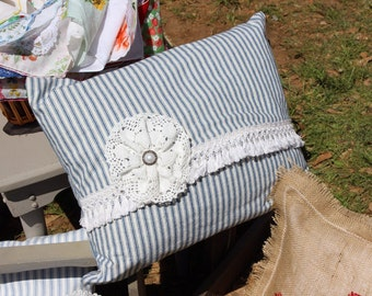Blue ticking pillow with lace and fringe accents / vintage farmhouse style pillow / blue ticking pillow / vintage lace / eM5