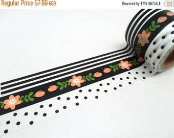Salmon Pink Cherry Blossom, Black and White Stripe, Black and White  Polka Dot Washi Tape Set of 3 Shipping End of July 2016