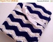 SALE Baby blanket crochet navy blue white chevron ripple blanket