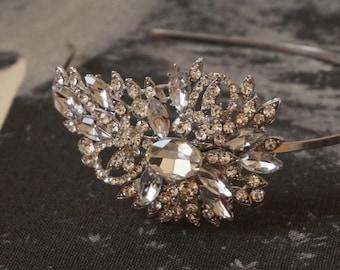 Side headband.  Crystal hair band Bridal headpiece