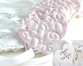 Personalized Salt Dough Imprinted Heart Ornaments Set of 10