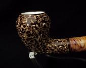 Elegant Brown Pear Turkish Block Meerschaum Pipe Gift Case Light weight 3151